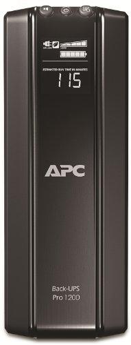 APC Back-UPS PRO, BR1200G-GR, Sistema de alimentación ininterrumpida, SAI, 1200 VA, 6 tomas Schuko, AVR, USB, software de apagado, Color Negro