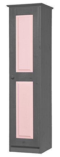 Vicenza Una Porta, Armadio in Pino Massiccio Colore: Grafite & Colore: Rosa