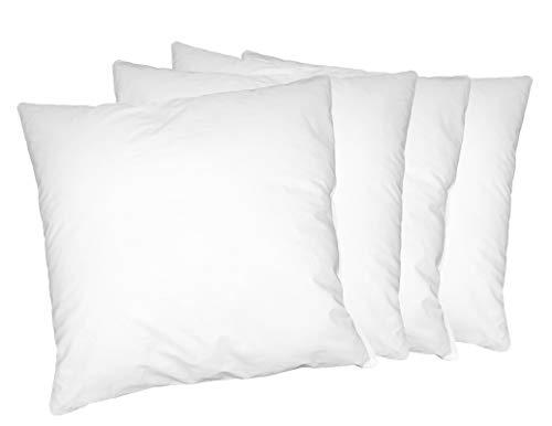 Moon Luxury Perkal 4er Pack Füllkissen 45x45 cm Innenkissen Sofakissen 100% Baumwolle fest gefüllt