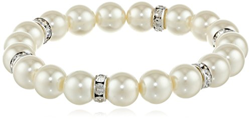 1928 Jewelry 'Pearl Essentials' Silver-Tone White and Crystal Stretch Bracelet