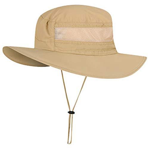 Boboder Sombrero de Sol de ala Ancha al Aire Libre Sombrero de Pesca con Protección UV Sombrero de Boonie Impermeable y Transpirable para Hombres y Mujeres (Caqui)