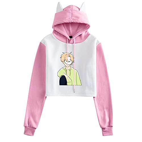 JHDESSLY Anime Dreamwastaken Dream Smile - Sudadera con capucha recortada para niñas, style23, XS