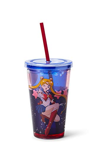 Sailor Moon Confetti Plastic Tumbler Cup with Lid & Straw   Holds 16 Ounces