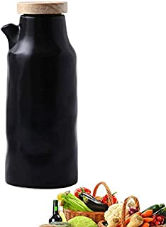 Oil Bottle Ceramic Oil Vinegar Dispenser Bottle Oil Kitchen Oil Tank Leak-Proof Spout Dust-Proof, Sauce Cruet 400ML,A