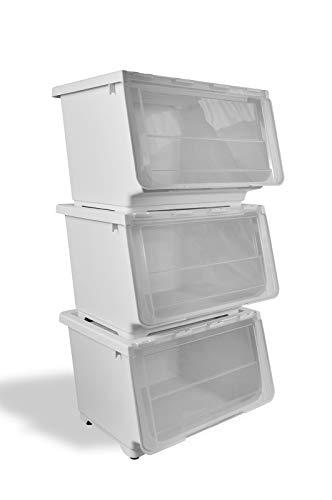 HAOGUT Stapelbare Aufbewahrungsboxen mit Deckel und Rollen, 3er Set, Ordnungsboxen mit Klappdeckel Transparent Kinder Spielzeug Bücher Kleiderschrank Kunststoffbox 3x45L Grauweiß HYPLUS-3L