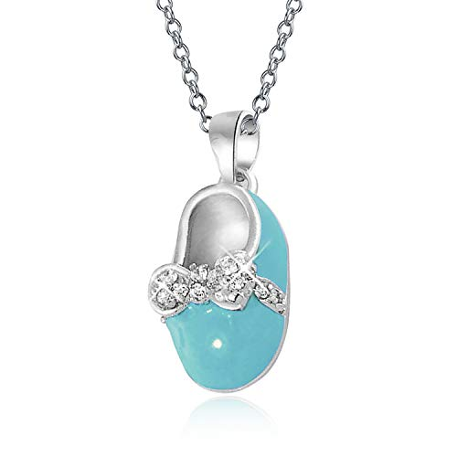 Personalized Baby Shoe Charm Pendant Necklace for New Mother Teal Blue Enamel Bow CZ Sterling Silver Custom Engraved