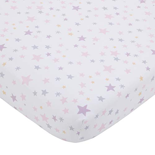 NoJo Shine On My Love - Girl Stars, Pink, Lavender & White Fitted Crib Sheet, Pink, Lavender, White