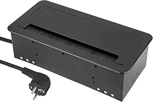 2 enchufes empotrables retráctiles + USB + LAN Internet – aluminio fundido a presión – Tapa suave – Cable de conexión 1,5 m con enchufe de protección – Negro