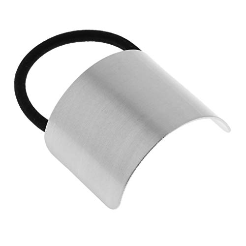 Fityle Women's Chic Ponytail Cover Hair Elastic Metal Band Cuff Ring Holder Hair Accessories - Silver