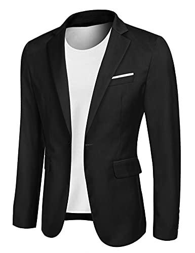 MAXMODA Blazer Uomo Slim Fit Giacca Blazer Casual Blazer Elegante Nero