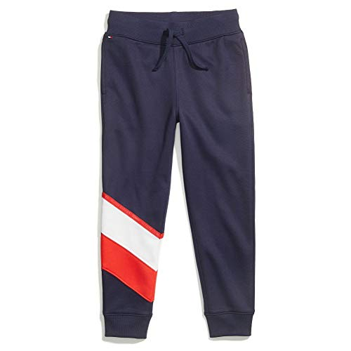 Tommy Hilfiger Boys' Adaptive Track Pants with Elastic Waist, Navy, S
