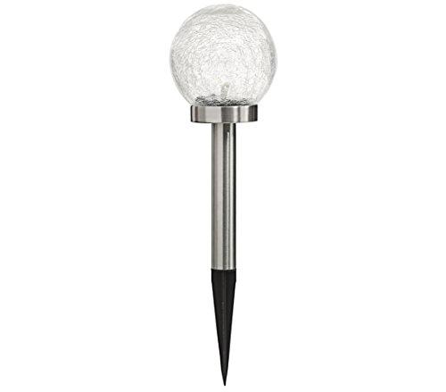 Dehner Premium Lampe Solaire Evora avec Piquet de Terre, Ø 13,5 cm, Hauteur 47,5 cm, Acier Inoxydable/Verre