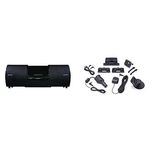 SiriusXM SXSD2 Portable Speaker Dock Audio System for Dock and Play Radios (Black) & SXDV3 Satellite Radio Vehicle Mounting Kit with Dock and Charging Cable (Black)