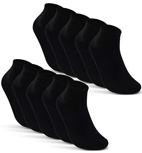 10 Paar SPORT Sneaker Socken Herren Damen Sportsocken Frotteesohle Baumwolle 16200 (47-50 Schwarz)
