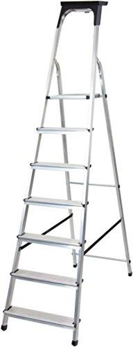 Brennenstuhl Haushaltsleiter aus Aluminium mit Arbeitsschale (Alu-Stehleiter mit 7 Stufen, Traglast max. 150 kg)
