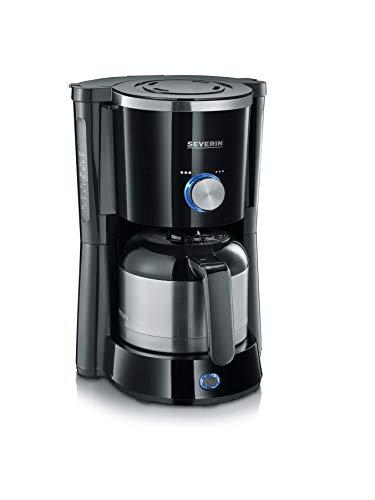 SEVERIN Kaffeemaschine, TypeSwitch, Für gemahlenen Filterkaffee, 8 Tassen, Inkl. Thermokanne, KA 4840, Edelstahl/Schwarz