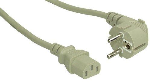 InLine Schutzkontakt gewinkelt auf Kaltgerätestecker C13 NetzKabel (2m) grau