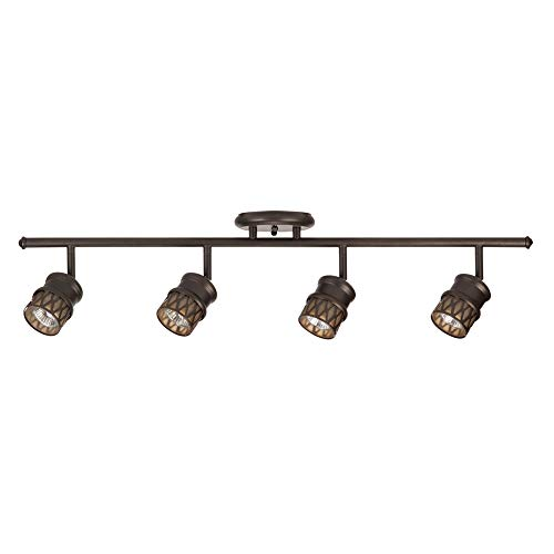 Norris 4-Light Track Lighting, Bronze, Oil Rubbed Finish, Champagne Glass Track Heads, Bulbs Included,59063