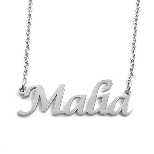 Kigu Malia - Collar con nombre personalizado, cadena ajustable, color plateado