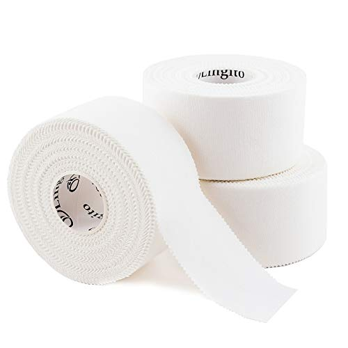 Athletic Sports Tape (White) 45ft | Strong Easy Tear |Perfect for Bats/Lacrosse/Hockey Sticks/Climbers and Boxing (3 Pack)