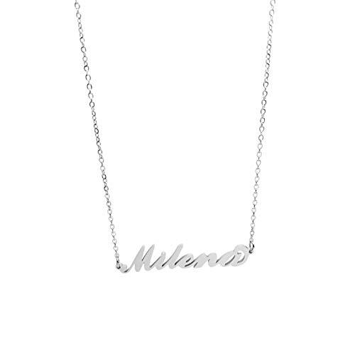 Collar de mujer con nombre de acero en cursiva, elegante, gargantilla ajustable, antialérgica, color plateado, caja de regalo incluida, Barbara, Acero inoxidable,