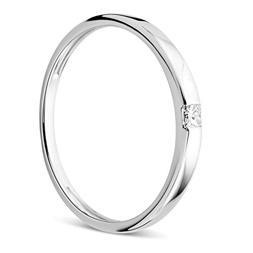 Orovi Women's Ring in White Gold or Yellow Gold 0.06 Carat Solitaire Diamond Engagement Ring 18 Carat (750) Gold and Diamond Brilliant