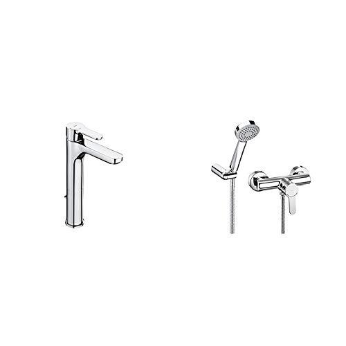 Roca A5A3C09C00 Mezclador monomando para lavabo, cromo + L20 Monomando exterior para ducha con ducha de mano, flexible de 1,50 m. y soporte de ducha articulad