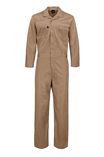 Kolossus Deluxe Long Sleeve Cotton Blend Coverall with Multi Pockets and Antistatic Zipper Khaki