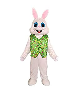 """This Easter Bunny Costume is brand new include head, body(clothes and trousers), hands and feet sometimes with tails. This Mascot Costume is one size fits 5'3"""" to 5'11"""" (160cm¨C180cm), weight up to 200lbs. Perfect for Halloween, Christmas, Cosplay, B..."""