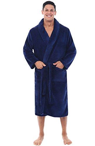 Alexander Del Rossa Men's Warm Fleece Robe, Plush Bathrobe, Small Medium Navy Blue (A0114NBLMD)
