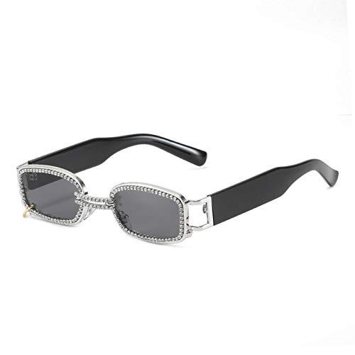 AMFG Personalidad Diamond-Studded Gafas de sol Tendencia europea y americana Cuadrado Neto Red Sunglasses Hembra Viaje al aire libre Sombrilla de viaje (Color : D)