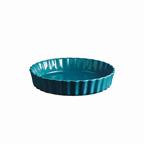 Emile Henry Deep Flan, Mediterranean Blue Quiche Dish, 1.2 qt