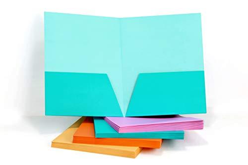 HUAPRINT 2 Pocket Folders,Pocket Folders Letter Size Bulk-(24 Pack Assorted Colors),Pocket File Folders Include Labels,Laminated Heavy Duty Paper Two Pocket Folders for Office Home School