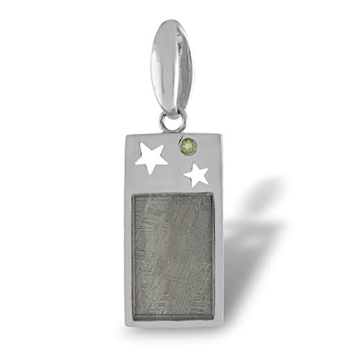 Starborn Colgante Meteorito Real con moldavita facetada, Motivo de Estrella Astro, Plata de Ley 925
