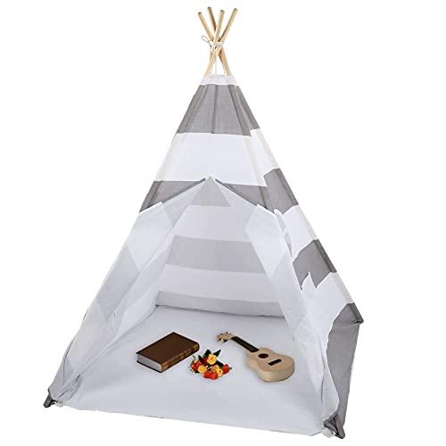 Carpa tipi para niños, carpa de juegos portátil plegable con bolsa de almacenamiento, carpa india con cubierta de piso y ventana, para habitaciones de niños Interior Exterior (gris)