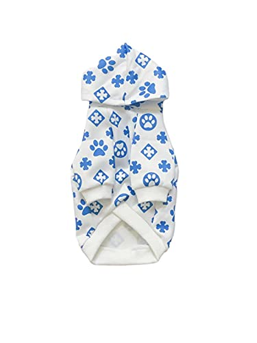 PAW STAR Spring Dog Hoodie,Summer Dog Hoodie,White Dog Clothes,Dog Hoodie,Dog Outfit,Pitbull Clothes,French Bulldog Clothes,Clothes for Pitbull,Hoodie for Small Dog Medium Dog (Blue, Large)