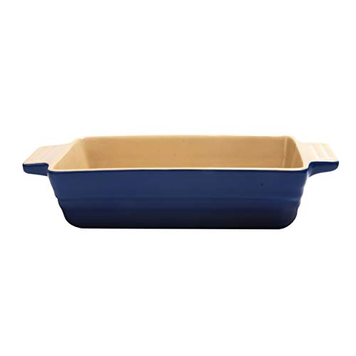 Essence - Maison Ceramic Loaf Pan 11in x 5in - Ceramic Loaf Pans for Baking Bread - Blue/Cream