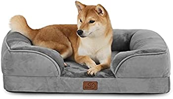 Bedsure Orthopedic Dog Bed, Bolster Dog Beds for Medium/Large/Extra Large Dogs - Foam Sofa with Removable Washable Cover,...