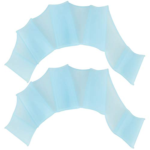 Tbest 1 Paar Schwimmhäute für die Finger Schwimmhandschuhe Kieselgel Webbed Handschuhe Erwachsene und Kinder Swim Glove hochelastisch Schwimmpaddles Handpaddel Schwimmflossen Blau (S, M, L)(M)
