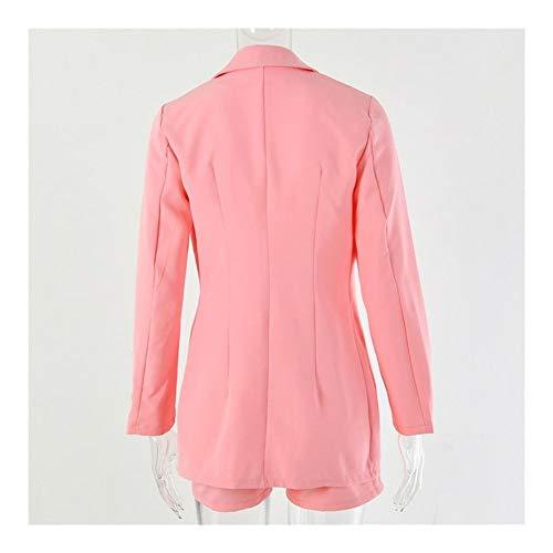 ASVNDD Office Lady Juego de Dos Piezas Conjunto Verano de Las Mujeres Chaqueta y Pantalones otoño Mono Set Trajes Trajes (Color : Pink, Size : Large)