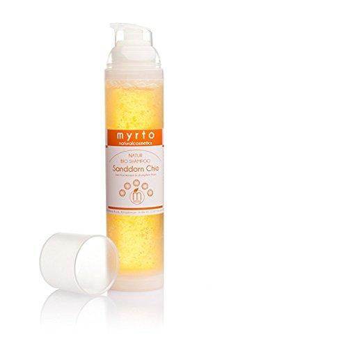 myrto – Bio Shampoo Sanddorn Chia | ohne Alkohol -gegen trockenes und stumpfes Haar -für mehr Glanz + Locken - gegen Spliss - 100ml