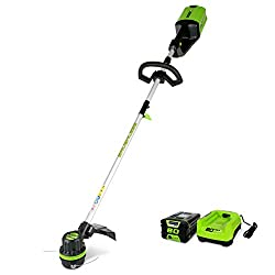 small Greenworks thread trimmer, 16 inch, 80 V, 2.0Ah battery and charger include ST80L210