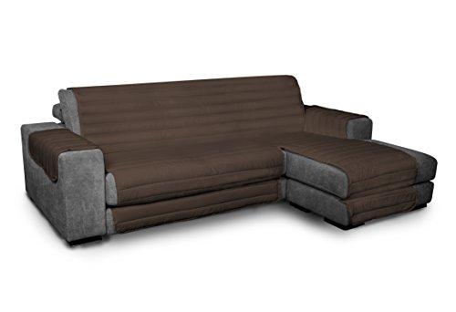 ITALYSWEETHOME salvadivano Salva sofá Microfibra con Chaise Longue Adaptable 290cm marrón