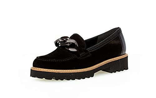 Gabor Damen Slipper, Frauen Halbschuhe,Best Fitting,schluepfschuhe,College,Schuhe,Businessschuhe,Slip-ons,Women's,schwarz (Rille),41 EU / 7.5 UK