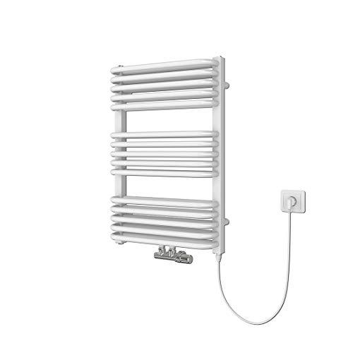 Badheizkörper, 736 x 500 mm Weiß Handtuchheizkörper, Mittelanschluss Warmwasser oder Elektrisch mit Heizstab, Doppellagig Handtuchtrockner (600 Watt)