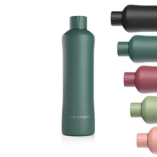 LARS NYSØM Botella de acero inoxidable 1000ml | Botella aislante sin BPA de 1 litro | Botella de agua a prueba de fugas para deportes, bicicleta, perro, bebé, niños | Termos 1l