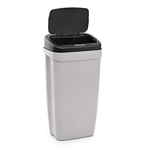 Rayen - Cubo de basura para cocina con sensor de apertura automático. Papelera ideal para usar en oficina o cocina. Cubo de basura para reciclaje. 30 L. 63.5 x 33.5 x 25 cm. Gris/Negro
