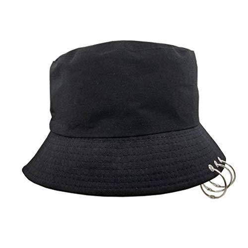 K-POP Ring Bucket Hat - Womens Mens Adjustable Packable Wide Brim Fishing Hat with Rings Black