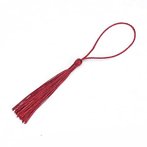 Borlas de seda de poliéster con flecos de 13 cm de algodón, para cortinas de costura, accesorios de bricolaje, decoración de boda, vino tinto