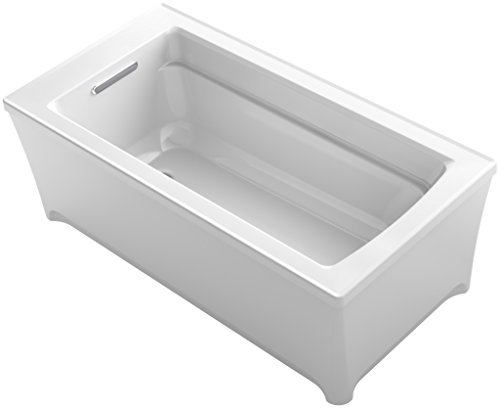 KOHLER K-2593-VBW-0 Archer 62 In. x 32 In. Freestanding VibrAcoustic Bath with Bask Heated Surface, White